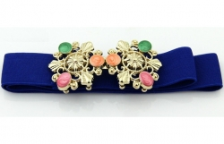 Fashion Colorful Gems Studded Girdle Belt BLUE