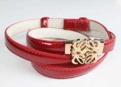 Korean Flower Gold Lacquer PU Leather Belt RED
