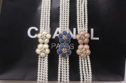 Korean Floral Pearl Chain Girdle Elastic Belt BLUE