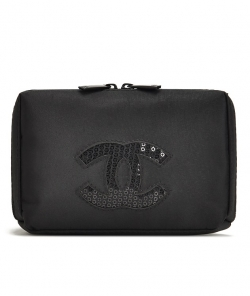 Classic Sequined Black Cosmetic Pouch