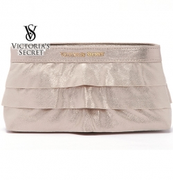 Victoria Secret Shimmer Gold Skirt Cosmetic Clutch Evening Bag