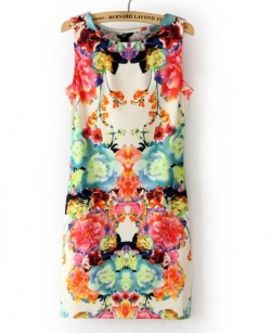 Clearance Summer Symmetry Printing Floral Dress SML