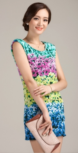 Elegant Slim Floral Lady Dress YELLOW L Size only