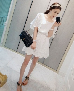Korean Sweet Petals Short Sleeved Dress