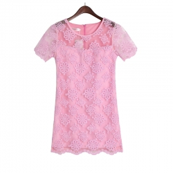 Exclusive Embroidered Organza Petals Lace Dress PINK M