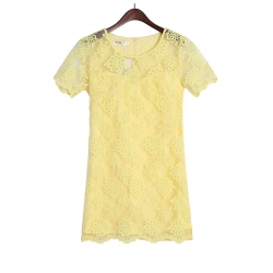 Exclusive Embroidered Organza Petals Lace Dress YELLOW S