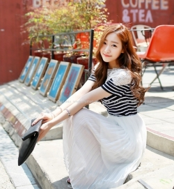 Prelove Korea Sweet Lace Black Stripe Chiffon Mid Length Dress