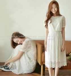CANVAUS Korea Summer Fairy Female Short-sleeved Lace Dress Long Dress