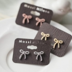 KOREA IMPORTED CUTE DIAMOND RIBBON EARRINGS