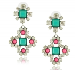 Geometry Diamond Earrings GREEN