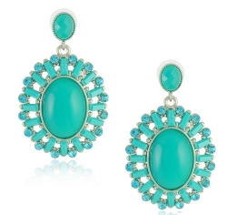 Bohemian Big Oval Gem Diamond Earrings BLUE