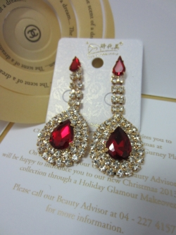 Korean Fashion Full Diamond Earrings RED