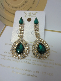 Korean Fashion Full Diamond Earrings GREEN