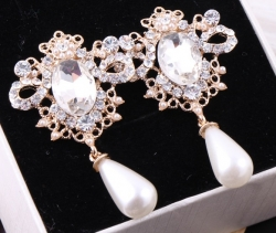 Korean Air Pearl Earrings WHITE