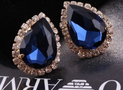 Flash Diamond Czech Stud Earrings BLUE
