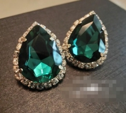 Flash Diamond Czech Stud Earrings GREEN