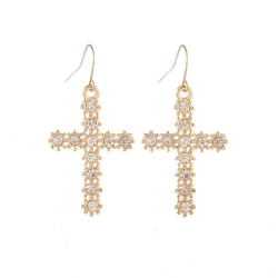 Fashion Cross Diamond Earrings WHITE