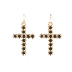 Fashion Cross Diamond Earrings BLACK