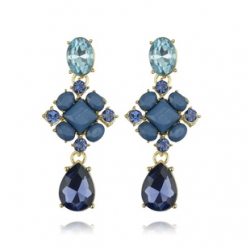 Clearance Korean Gemstone Water Droplets Stud Earrings
