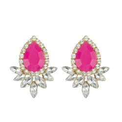 Korean Candy Colored Gemstone Stud Earrings ROSE