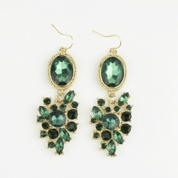Fashion Stones Inlaid Hook Earrings GREEN