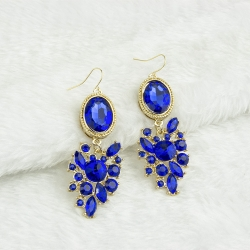 Fashion Stones Inlaid Hook Earrings BLUE