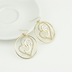 SALES Peach Heart Cool G Letter Earrings GOLD