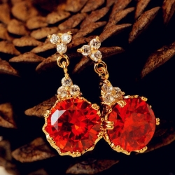 Classic Zircon Crystal Luxury Earrings RED