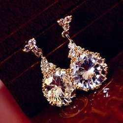 Classic Zircon Crystal Luxury Earrings WHITE