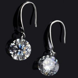 Silver Bright Platinum 1cm Diamond Earrings