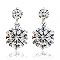 Elegant Christmas Gift Girlfriend S925 Silver Diamond Earrings