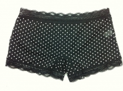 Mesh Lace Ladies Mid Waist Panties Black Dot XS