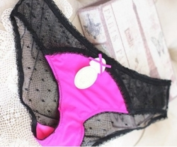 L* Senza Mesh Yarn Rose Black Underwear L