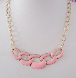 ASOS Enamel Fashion Necklace PINK