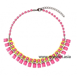 Korea Neon Fluorescent Color Gem Diamond Necklace