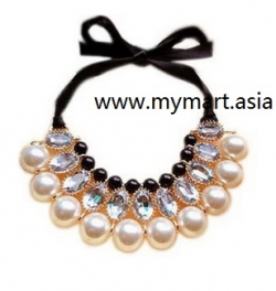 Korea Gorgeous Pearl Stones Shine Ribbon Collar Necklace BLACK