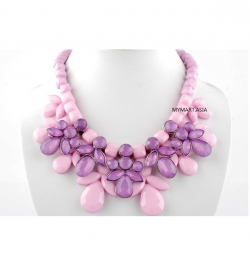 Korea Sweet Candy Gem Droplets Necklace PURPLE