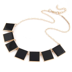 SALES Korea Geometric Solid Enamel Necklace BLACK
