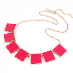 SALES Korea Geometric Solid Enamel Necklace RED