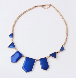 Korea Fashion Geometric Necklace BLUE