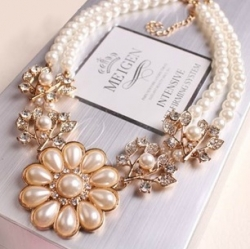 Korea Flower Diamond Pearl Bridal Palace Clavicle Chain