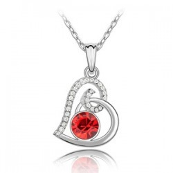 Austrian Crystal Love Necklace RED