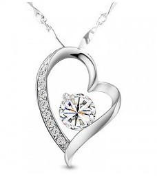 Full Crystal Diamond Heart Necklace WHITE