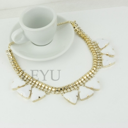 Clearance FRAGILE Elegant Luxury Diamond Short Necklace WHITE