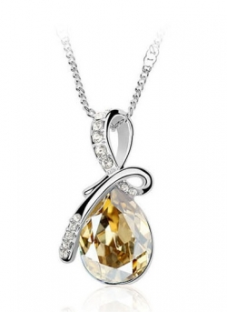 Eternal Love Crystal Droplet Necklace Pendant Set GOLD
