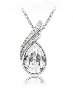 Austria Crystal Droplets Diamond Necklace WHITE