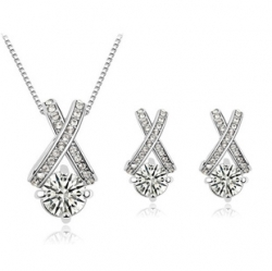 SALES Zirconia 18k Simple Diamond Necklace Earrings Set