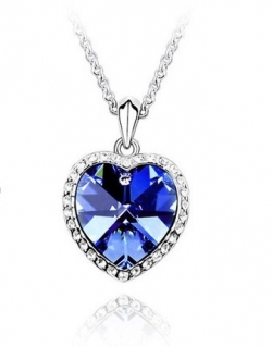 SALES Crystal Ocean Heart Shape Love Necklace BLUE