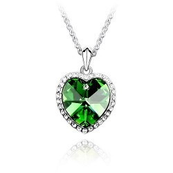 SALES Crystal Ocean Heart Shape Love Necklace GREEN