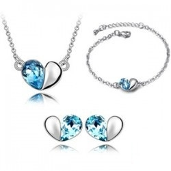 SALES Crystal Love Necklace Earrings Bracelet Full Set